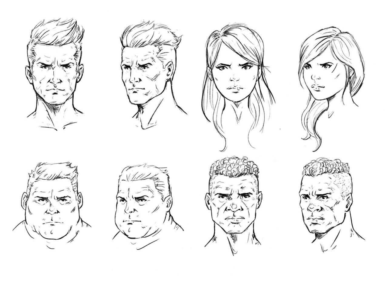How to draw a face drawing the male and female head