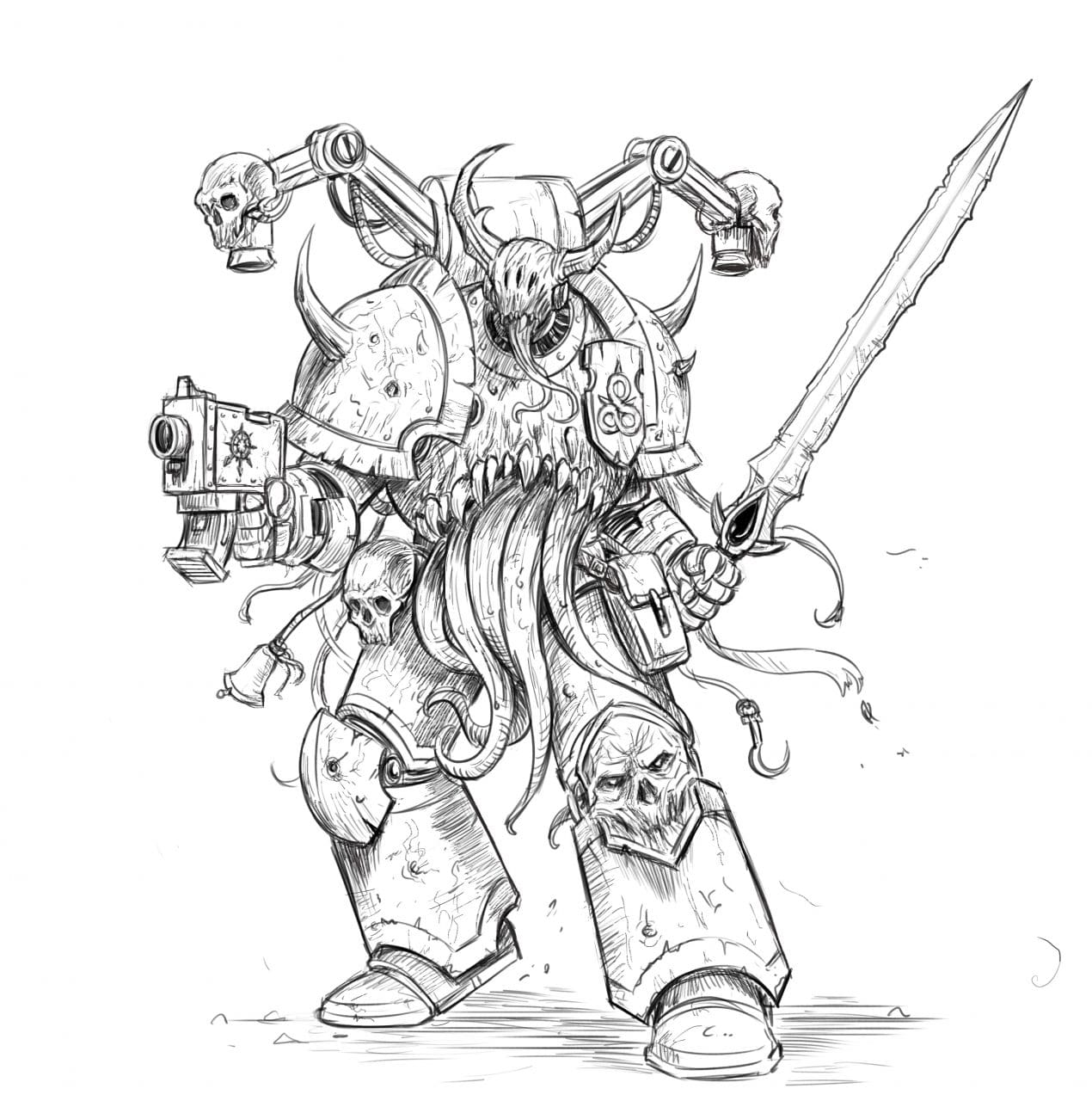 How to Draw a Chaos Space Marine