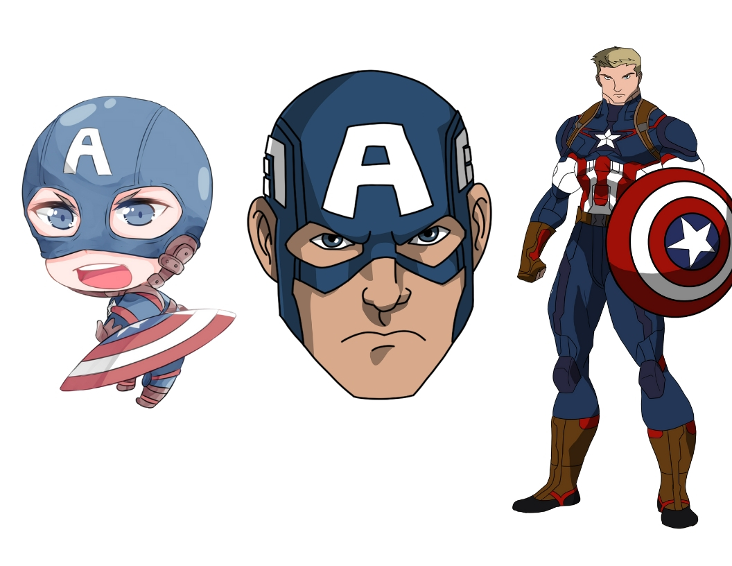 3 Ways to Draw Captain America: Face Portrait, Full Body, and Chibi Style