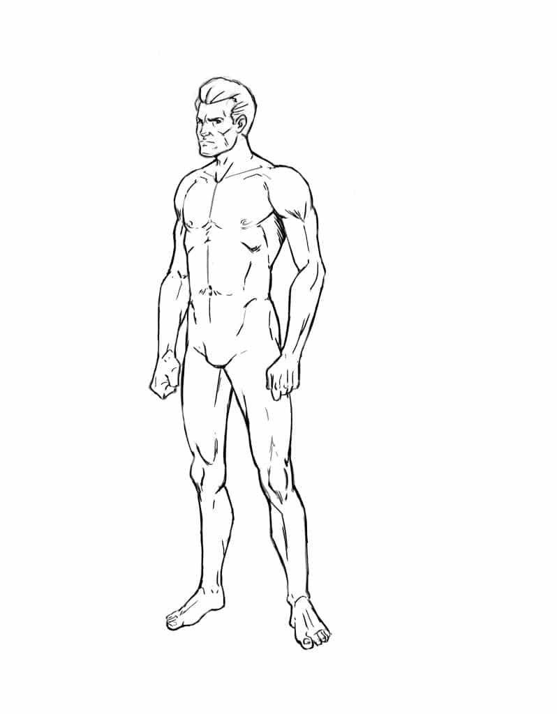 The rest of the body should not present a real challenge as long as you draw the muscles similar to what i did in the image below