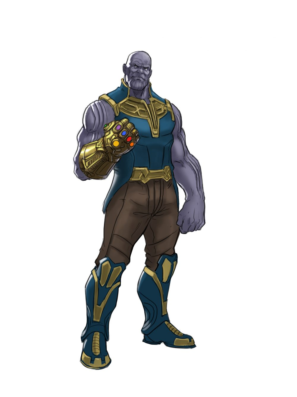 How to draw Thanos from The Avangers ...