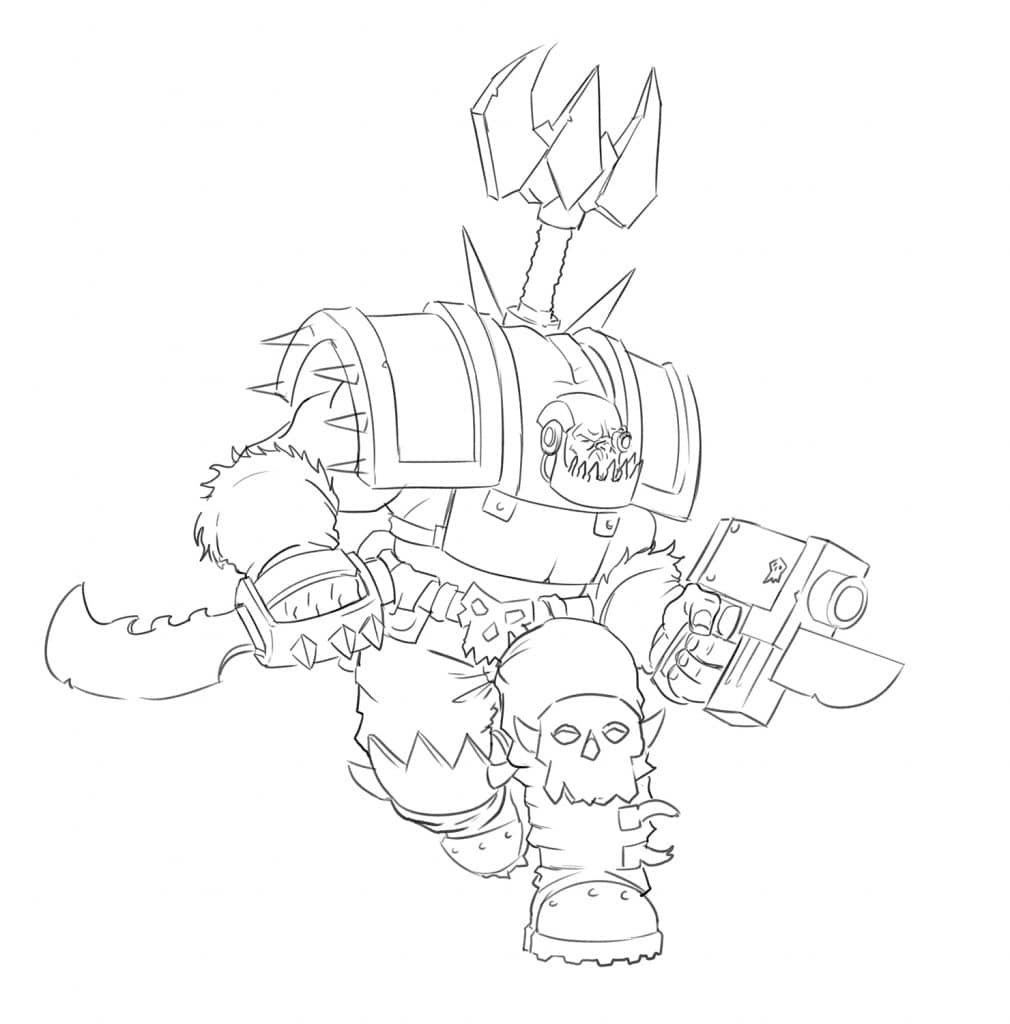 How To Draw a Warhammer 40K Ork - Improveyourdrawings com