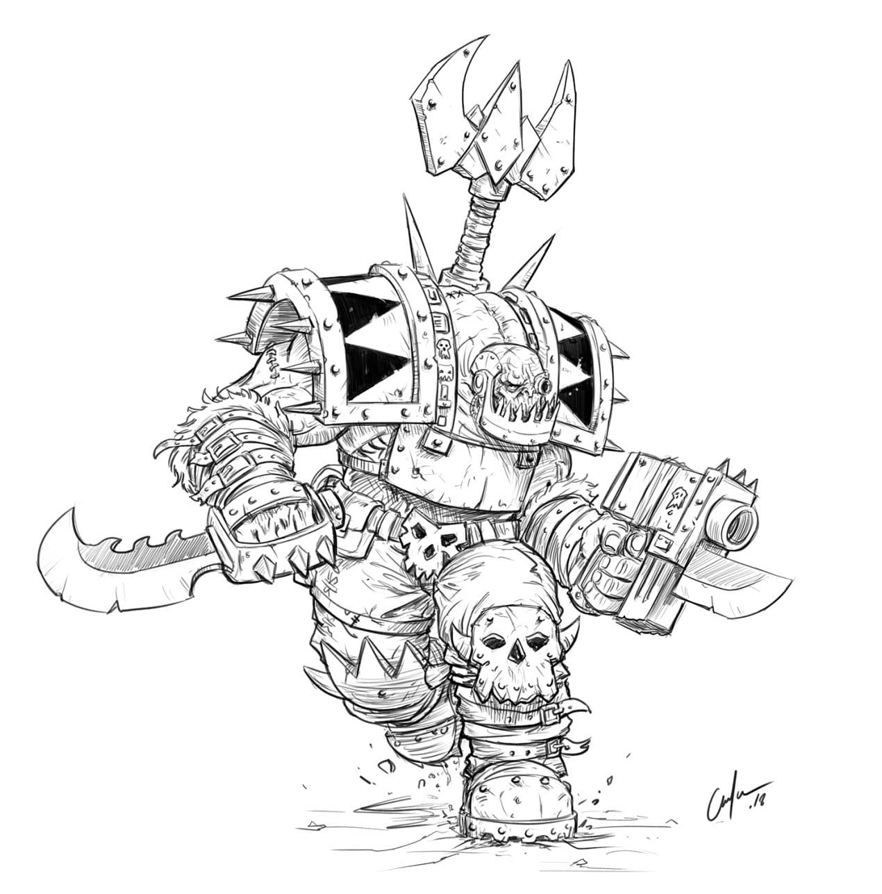 How To Draw a Warhammer 40K Ork