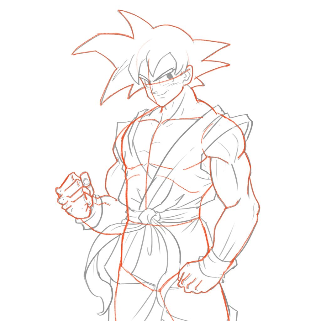 We are going to draw goku in the full saiyan uniform this is the attire he wears in virtually every fight of his life we will draw out the outline