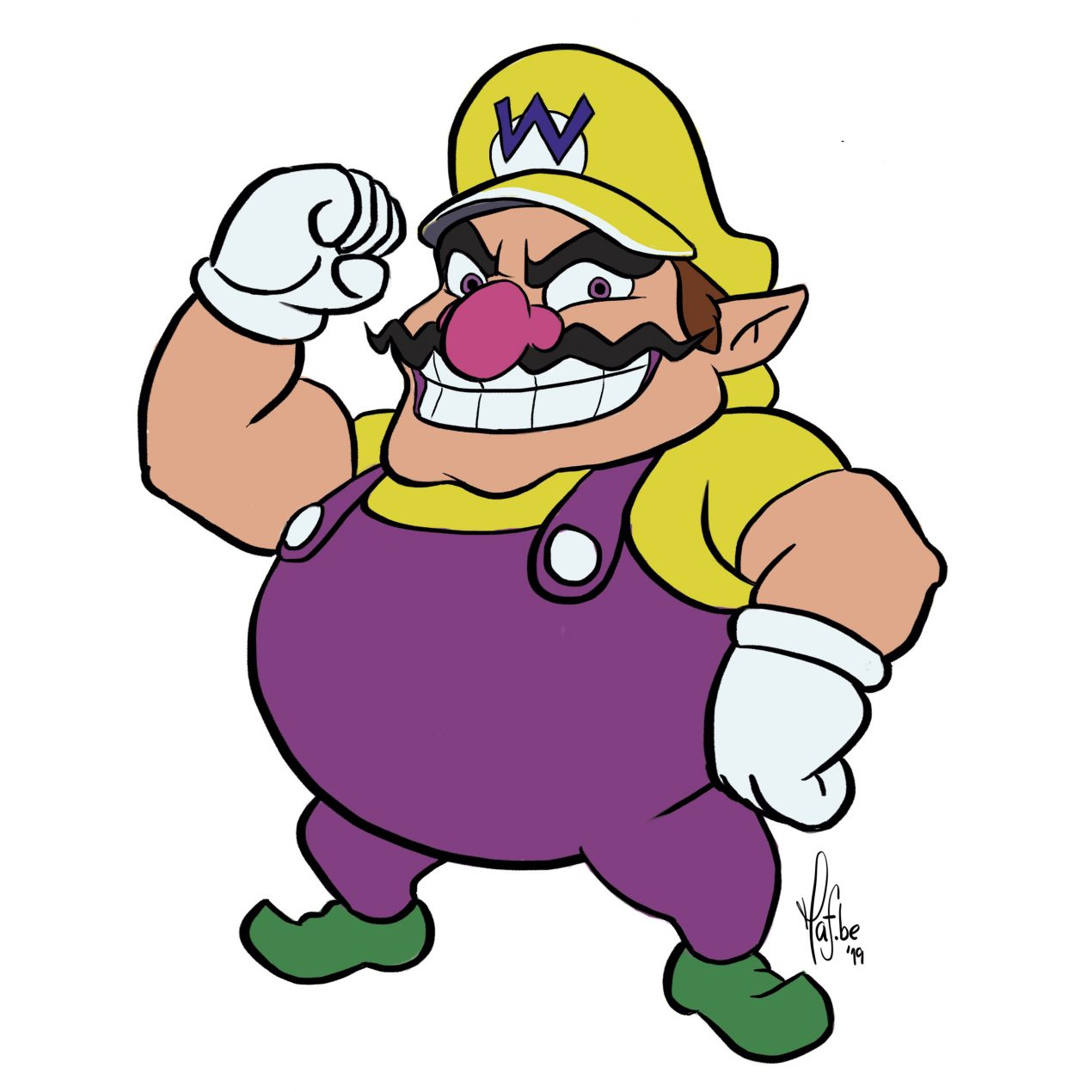 Learn to Draw Wario from Mario Bros in 7 Easy Steps ( with Pictures )