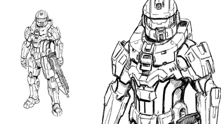 How To Draw Master Chief From Halo   With Pictures