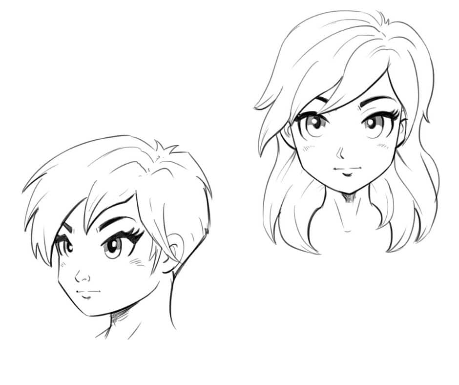 2 Ways to Draw an Anime(Manga) Face | Front and 3/4 Views