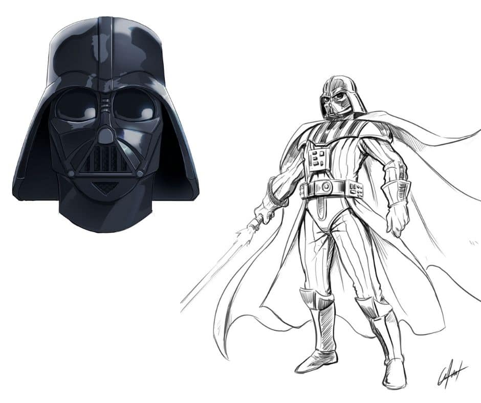 2 Ways to Draw Drath Vader| Learn to Draw Darth Vader´s Helmet and Full Body