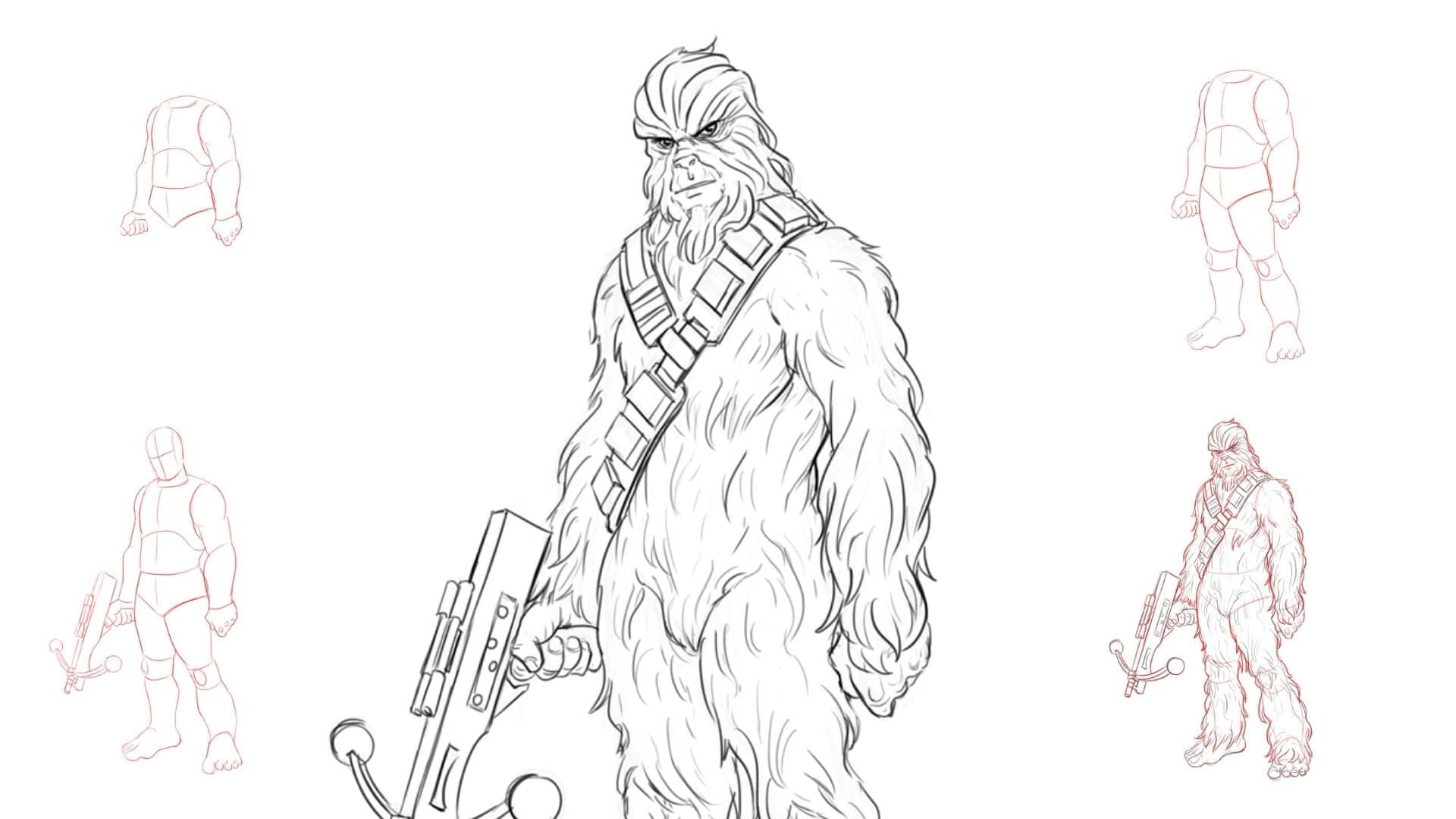 Learn To Draw Chewbacca from Star Wars in 8 Easy Steps