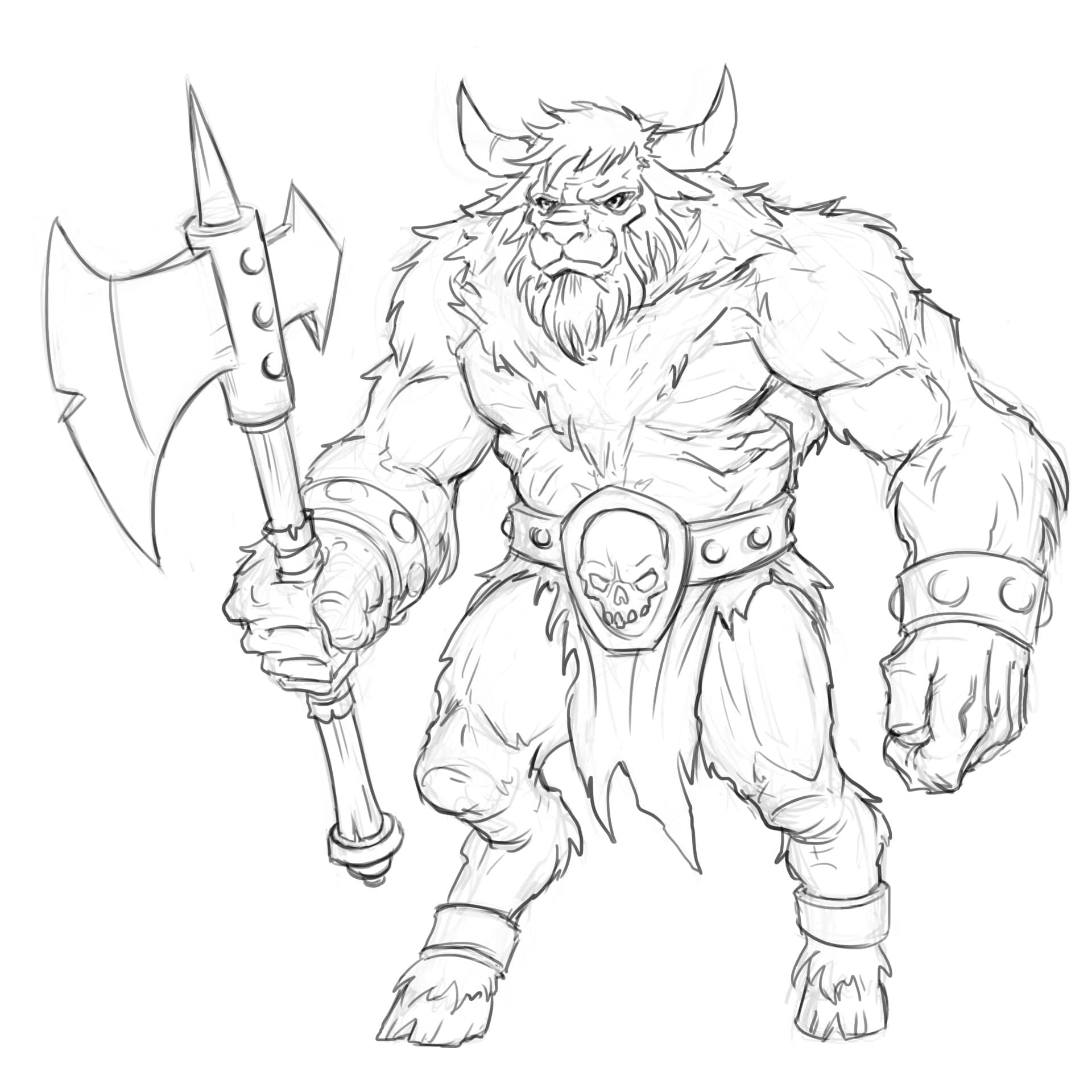 LEARN TO DRAW A MINOTAUR IN 7 EASY STEPS